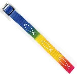 Bracelet tissé Ichtus multicolore