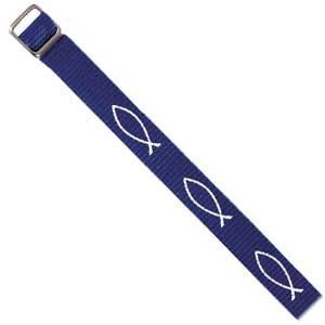 Bracelet tissé Ichtus bleu