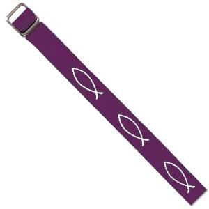 Bracelet tissé Ichtus violet