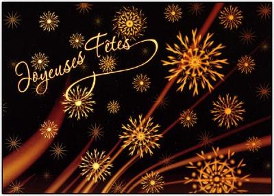 Carte Fin D'année avec Flocons dorés (JF)