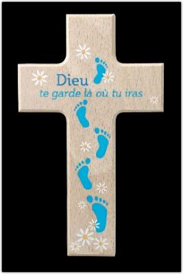 Croix en bois peint, Dieu te garde.....