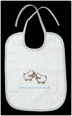 Bavoir en éponge beige moutons brodés Dieu prend.....