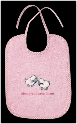 Bavoir en éponge rose moutons brodés Dieu prend.....