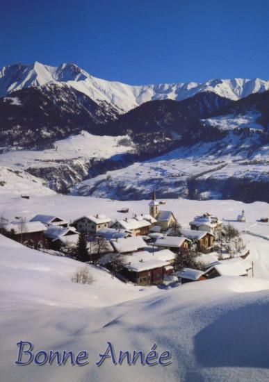 Carte avec message Fin D'année Village de montagnes enneigé
