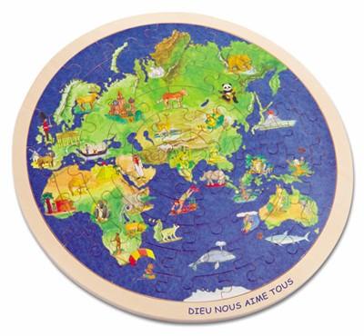Puzzle le monde en bois 57 pièces