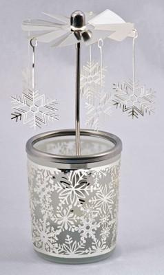 Photophore + carrousel flocons de neige h15cm