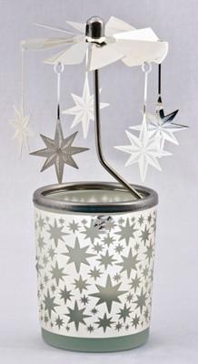 Photophore + carrousel étoiles h15cm