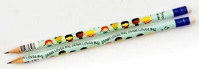 Crayon de papier avec sa gomme «Jesus loves me»