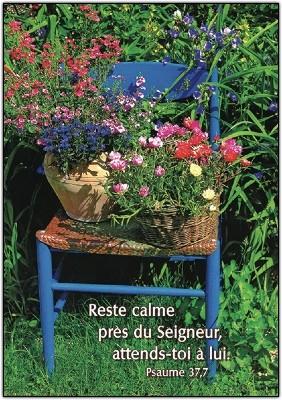 Carte Avec Verset Pots de fleurs sur chaise
