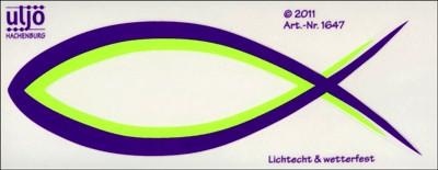 Autocollant : Ichtus violet/vert fluo 13cm