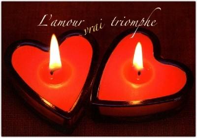 Carte double Mariage 2 bougies coeur