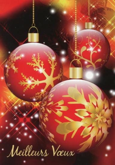 Carte Fin D'année avec Boules rouges et dorées
