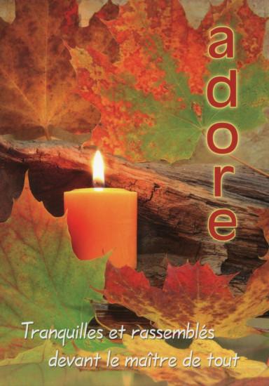 Carte Fin D'année avec Bougie dans feuilles d'automne