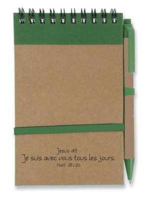 Bloc note : vert/brun Je suis avec vous...( recyclable).