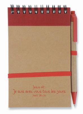 Bloc note:  rouge/brun Je suis avec vous...( recyclable).