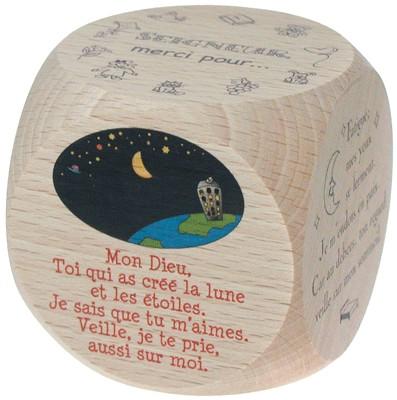 Mini dé 6 prières du soir,  5 cm.