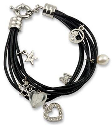 Bracelet 7 lanières cuir et 7 sujets accrochés 20cm