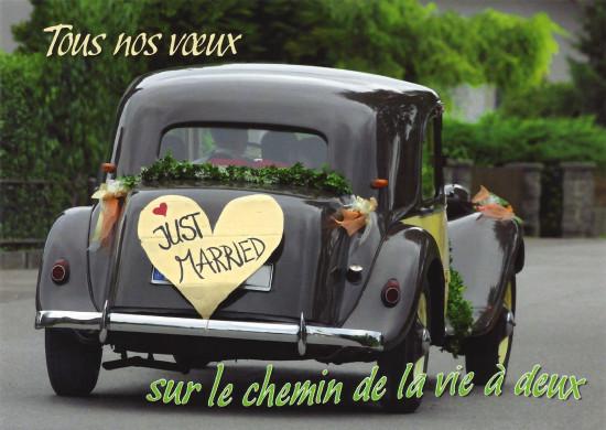 Carte avec message Voiture des mariés