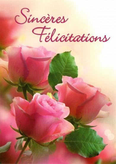 Carte avec message Roses rose (Sincères Félicitations)