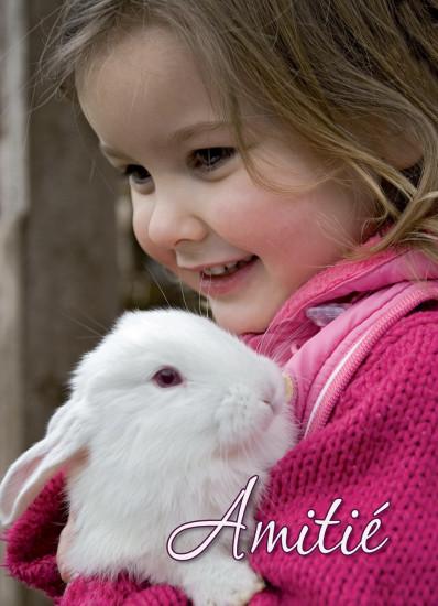 Mini Carte Fillette et lapin (Amitié)