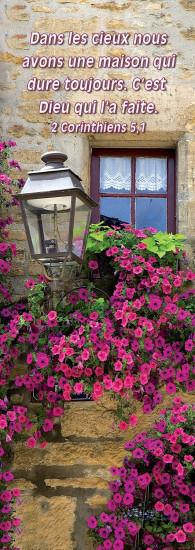 Signet Lampadaire et fleurs devant maison