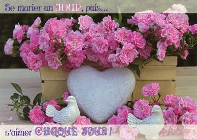 Carte avec message Coeur, rose et colombes (HM)
