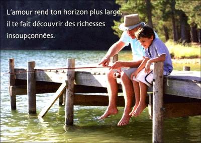 Carte Citation Garçon et grand-père à la pêche