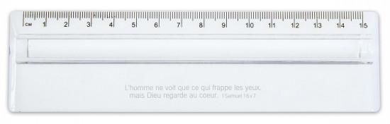 Règle transparente 15 cm partie loupe 1 Sam.16 v 7