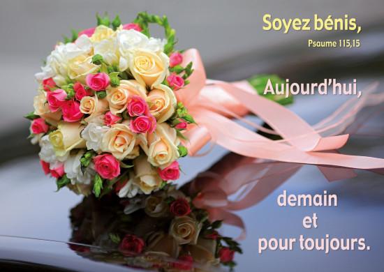 Carte avec Verset Bouquet de mariée (HM)