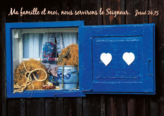 Carte avec Verset Volet bleu avec coeurs