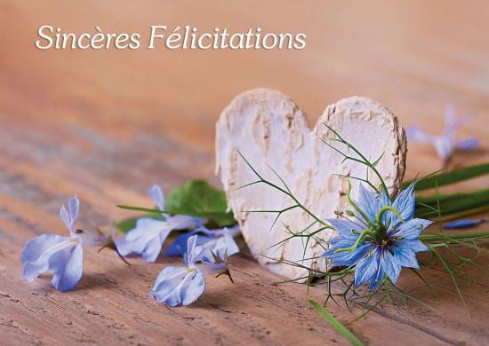 Carte avec message Coeur et fleurs bleues