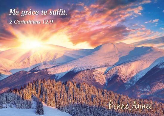 Carte Fin D'année avec Soleil couchant sur montagnes (BA)