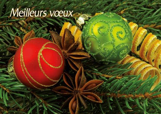 Carte Fin D'année avec Boules rouge et verte (MV)