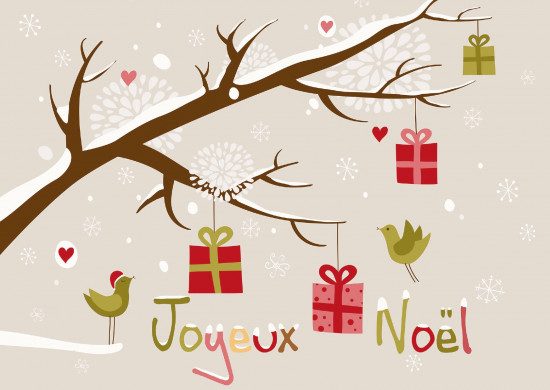 Carte Fin D'année avec Cadeaux sur branche (JN)