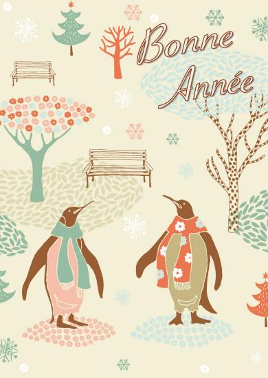 Carte Fin D'année avec Pingouins ds jardin (BA)