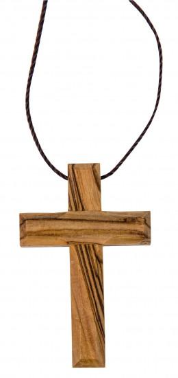 Collier fil en cuir, 80cm avec croix en bois d'olivier 5x3cm