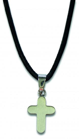 Collier fil en cuir 80cm avec croix en acier mat 1.6x1.2cm