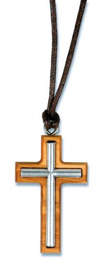 Collier fil 70cm avec croix de couleur argent/bois d'olivier 4x2.5cm