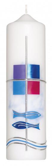 Bougie.  Poissons bleus croix H22cm d6cm