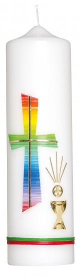 Bougie croix multicolore avec coupe H22cm d6cm