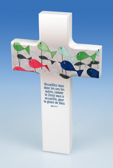 Croix en bois «Accueillez-vous donc».Rom.15v7