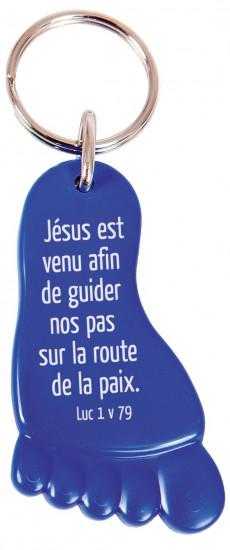 Porte-clés pied recyclable bleu Luc 1v79
