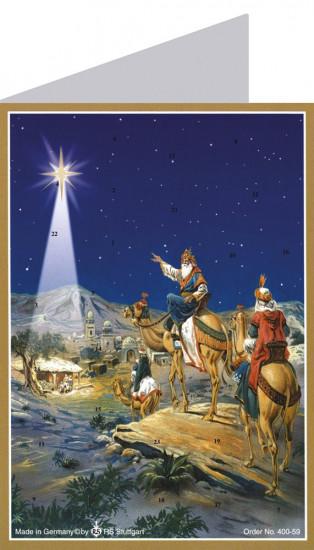 Carte de l'avent avec Mages se rendant à Béthéhem