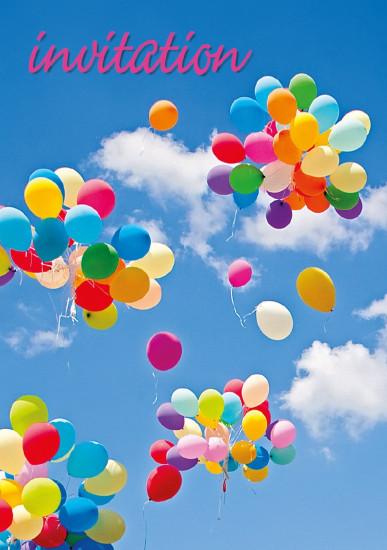 Mini Carte Envol de ballons multicolore( Invitation)