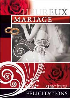 Carte double Mariage Couple, robe avec voile