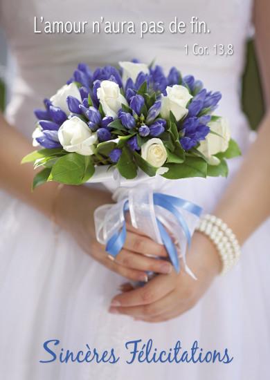Carte avec Verset Mariée et son bouquet (SF)