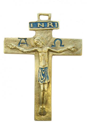 Croix fine en bronze émaillé, 12 cm