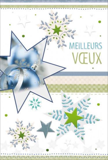 Carte double Meilleurs Voeux Boule bleue ds étoile
