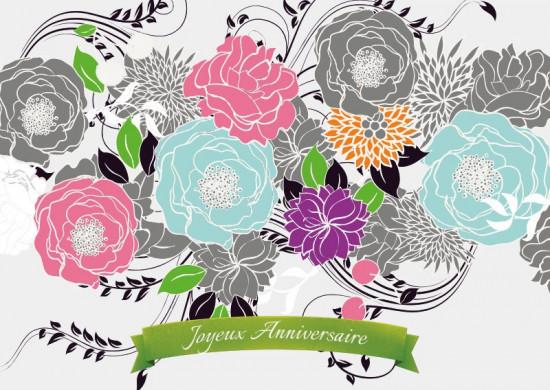Carte avec message Fleurs dessinées (JA)