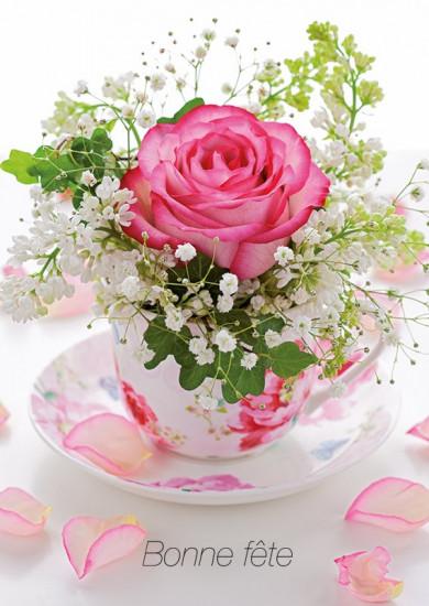 Carte avec message Rose ds tasse (Bonne fête)
